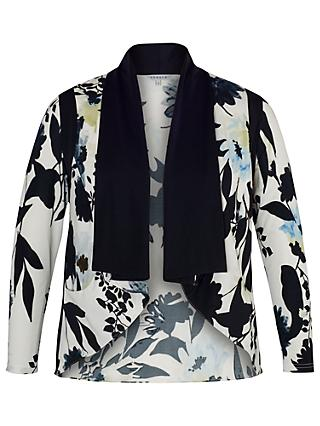 Chesca Floral Print Shrug, Ivory/Ink