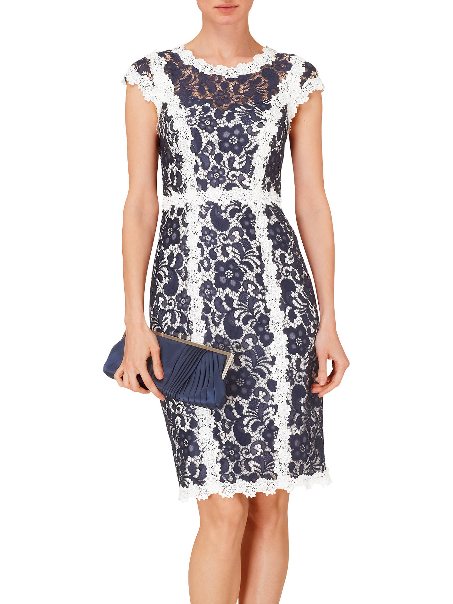 Buy Phase Eight Frieda Lace Dress, Navy/Ivory, 8 Online at johnlewis.com