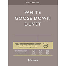 John Lewis Natural White Goose Down Bedding