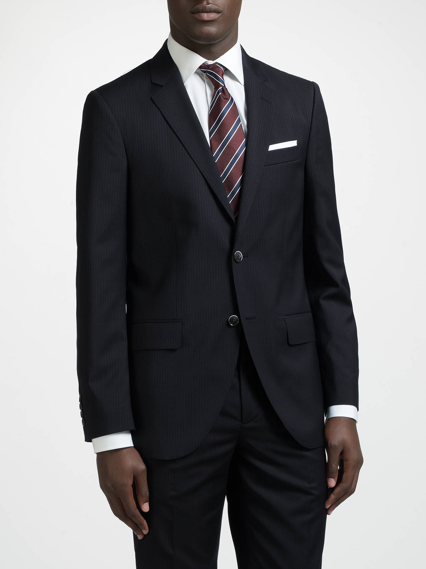 Hackett london super 120s wool pinstripe tailored suit jacket navy at john lewis partners - Hackett london head office ...