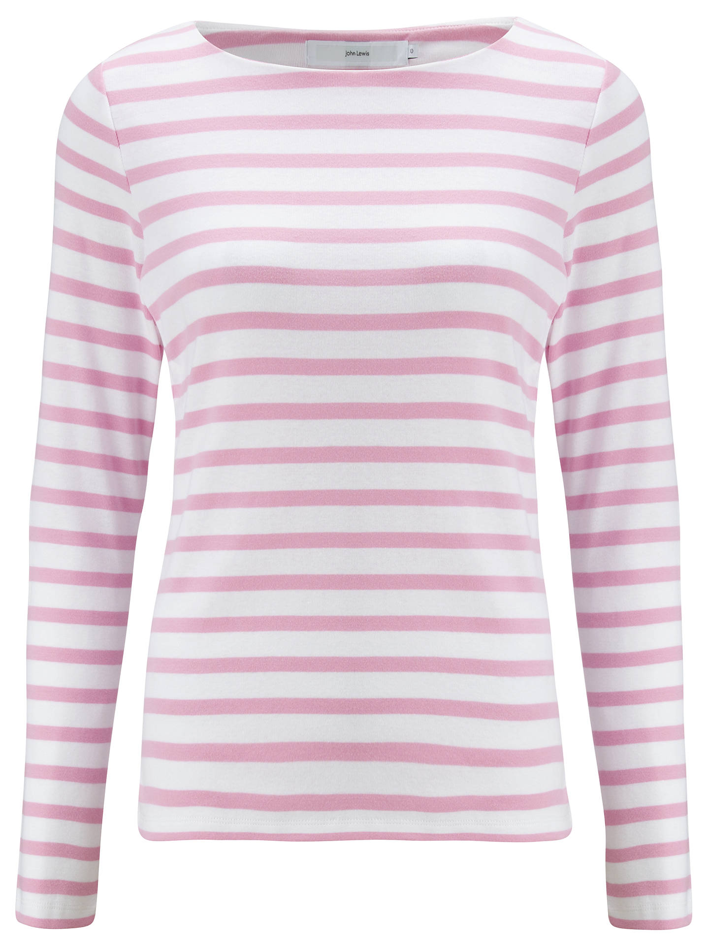 Buy John Lewis Long Sleeve Breton Stripe Top, White / Pale Lilac, 8 Online at johnlewis.com