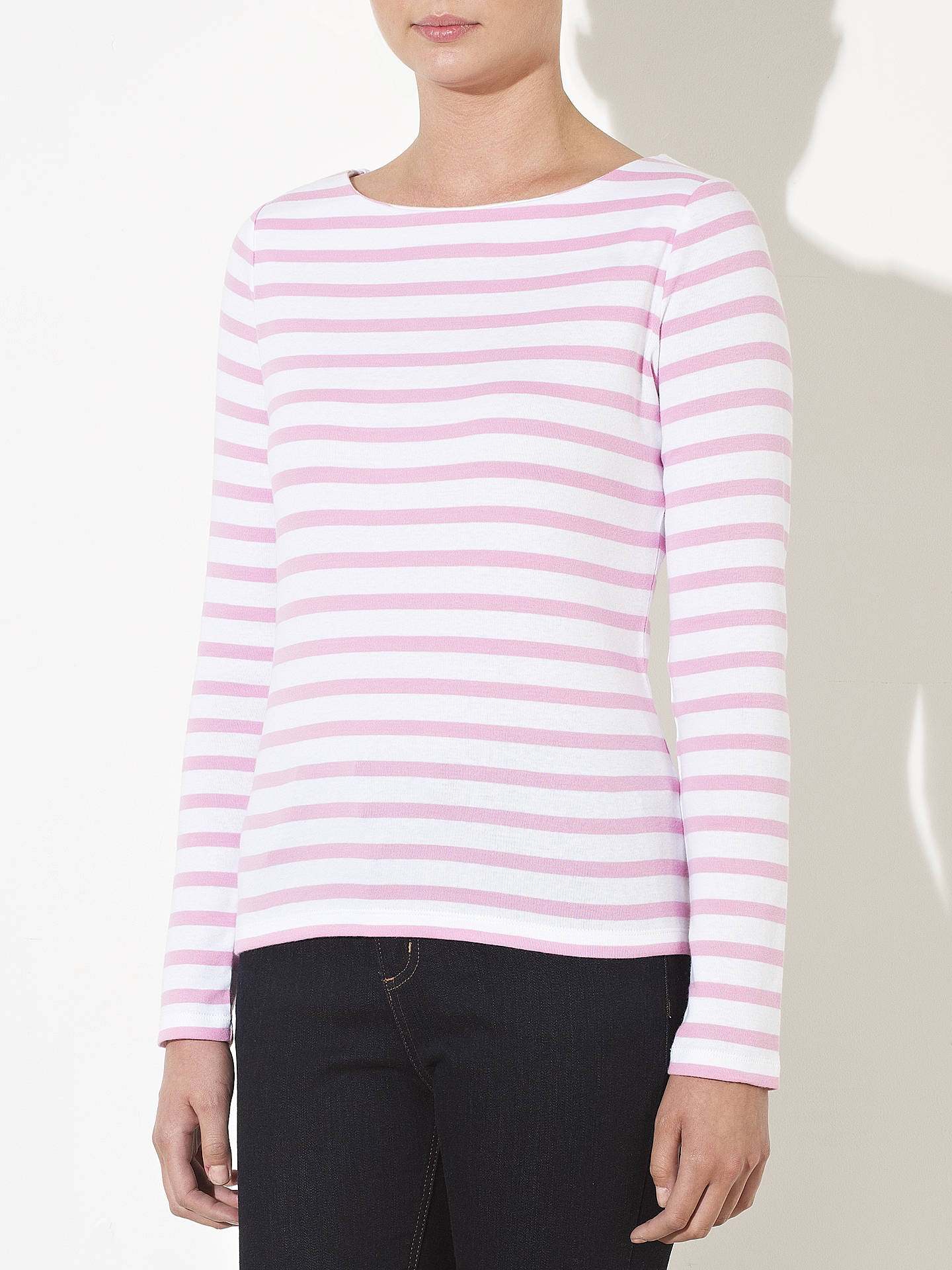 Buy John Lewis Long Sleeve Breton Stripe Top, White / Pale Lilac, 18 Online at johnlewis.com