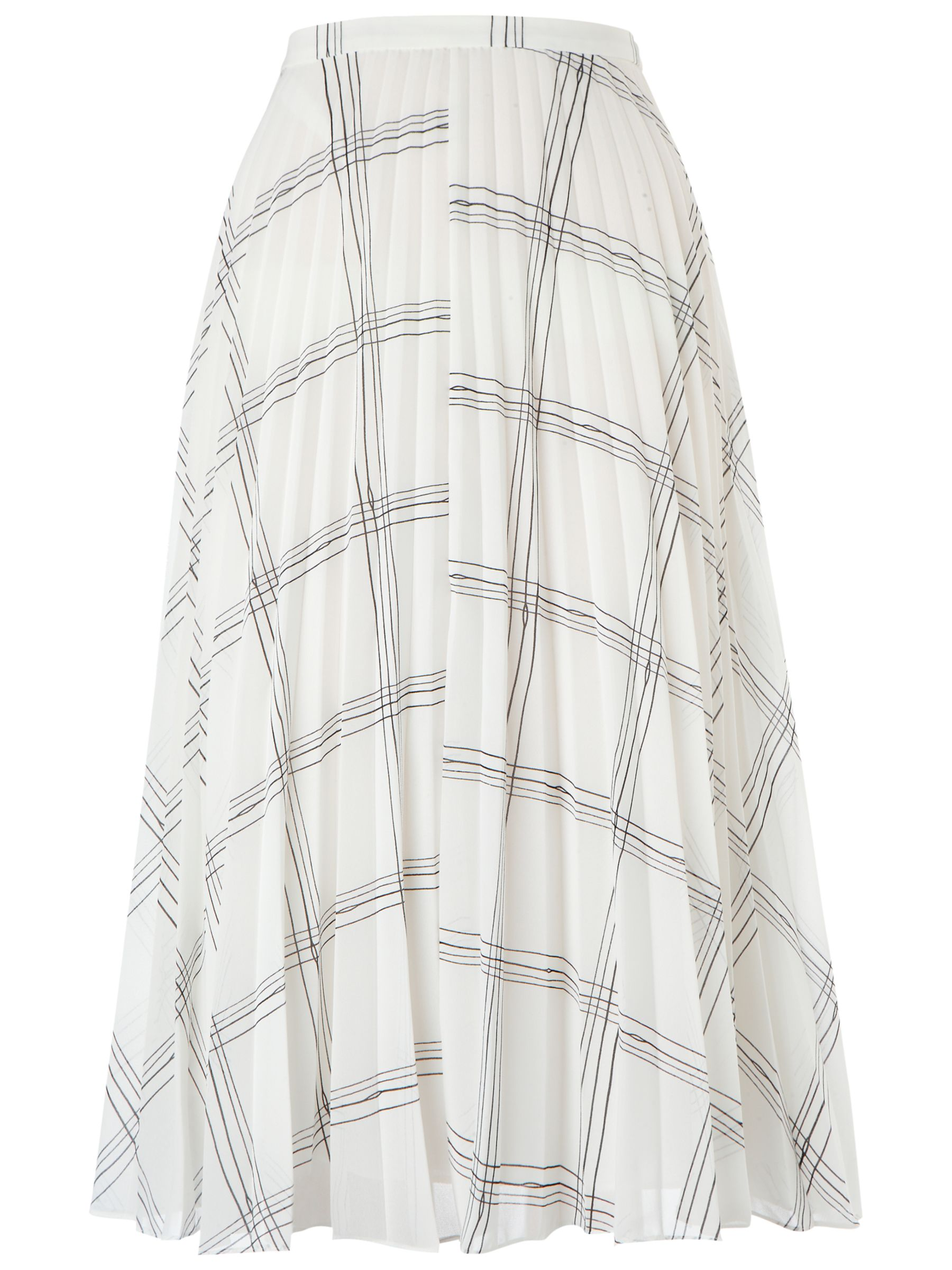 60dfaf0db9 Whistles Ellie Grid Print Pleated Skirt, Black/White at John Lewis ...