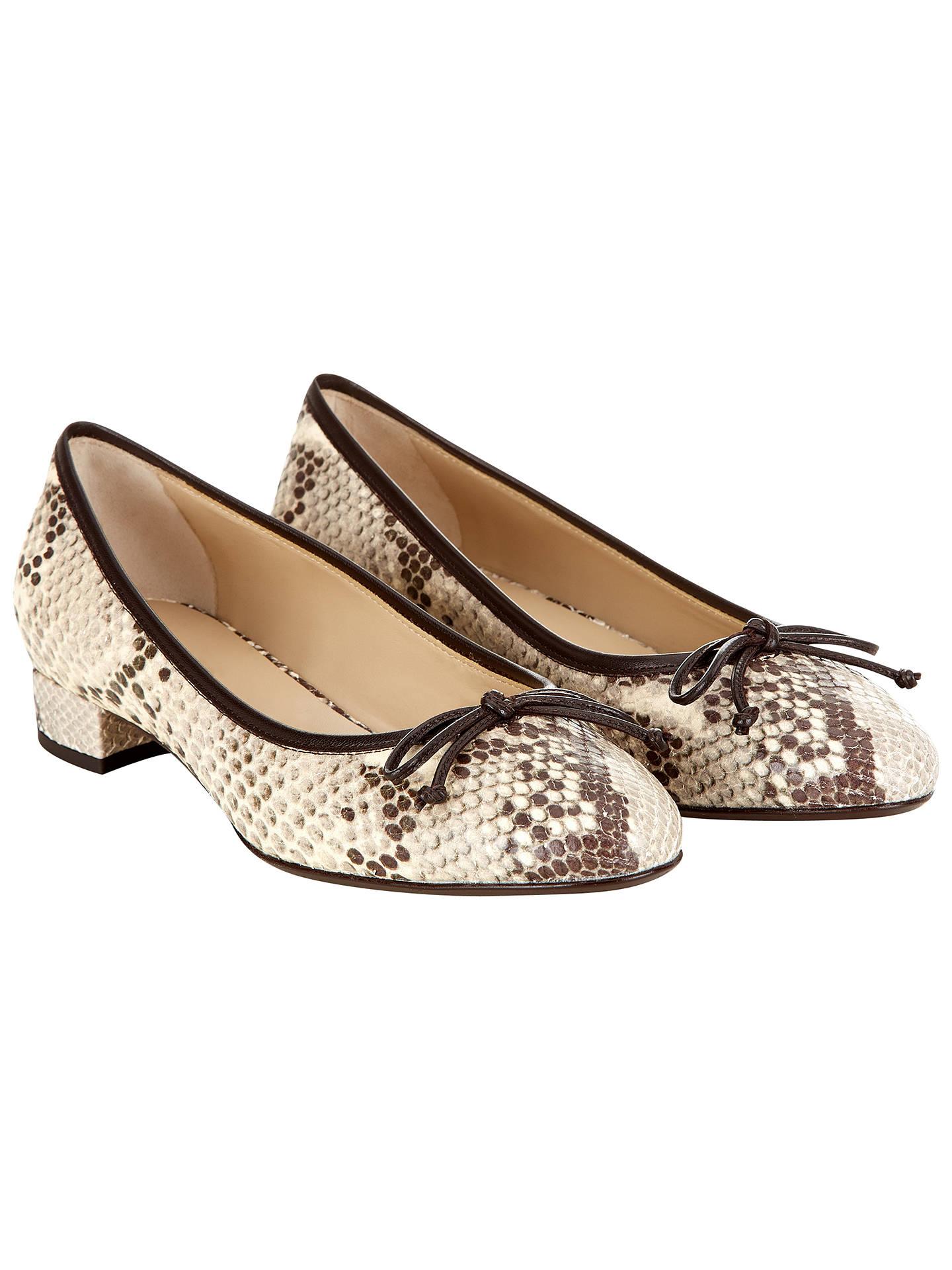 21c0b3d7879b0 ... Buy Hobbs Poppy Leather Block Heel Ballerina Pumps, Snake Print, 2  Online at johnlewis ...