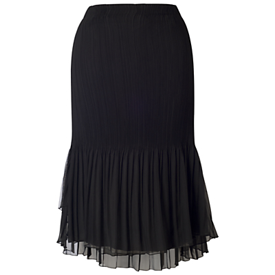 Chesca Mesh Trim Pleated Skirt, Black