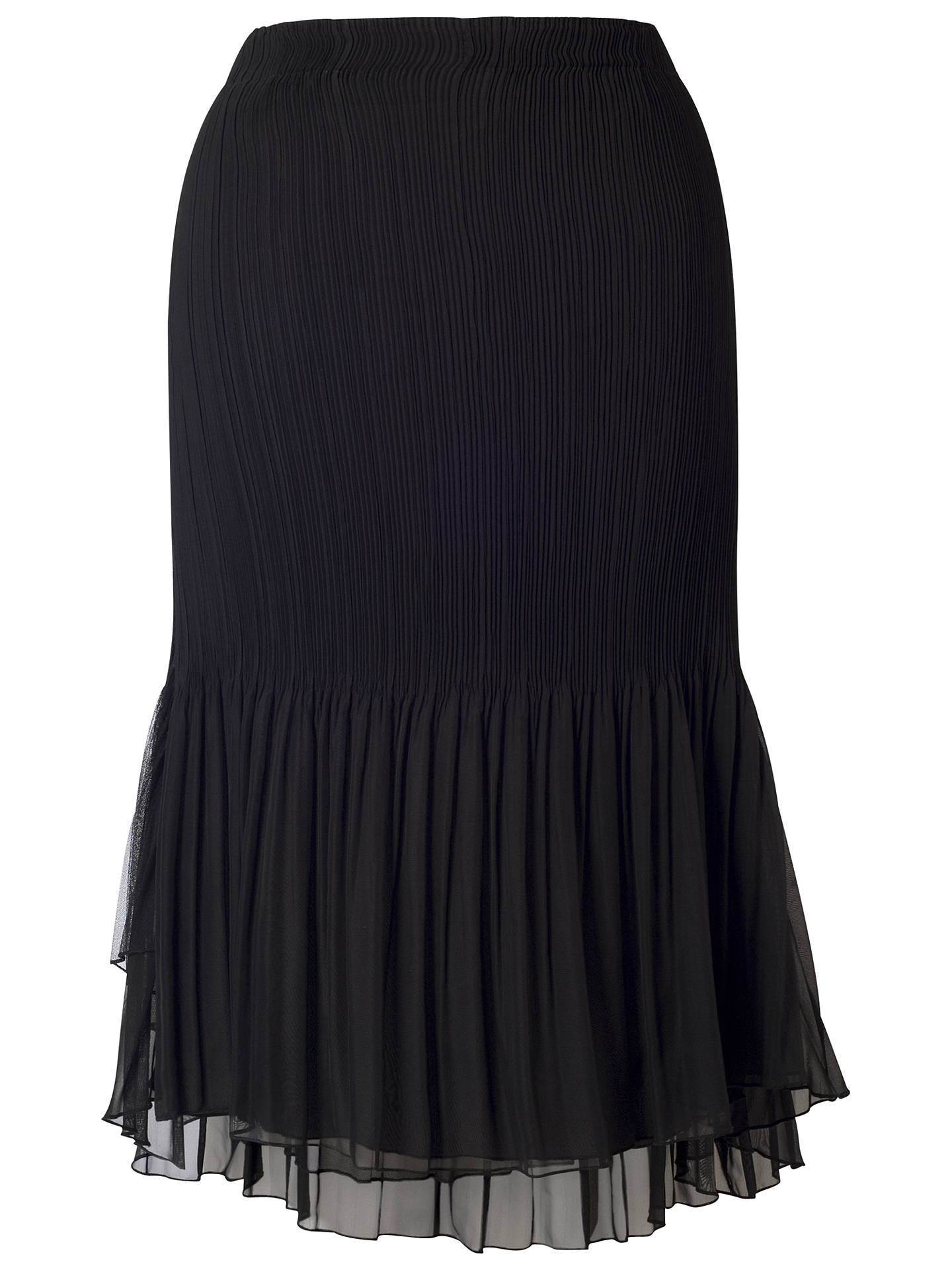 Buy Chesca Mesh Trim Pleated Skirt, Black, 12-14 Online at johnlewis.com