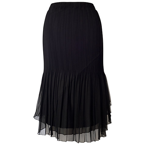 Buy Chesca Mesh Trim Pleated Skirt, Black Online at johnlewis.com