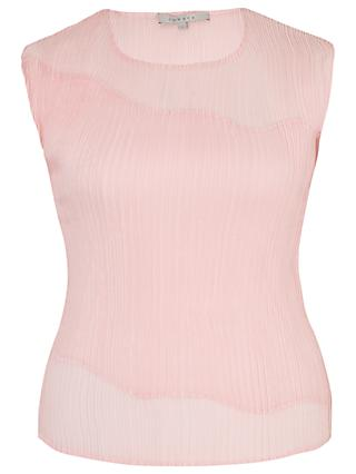 Chesca Chiffon Trim Pleated Top, Powder Pink