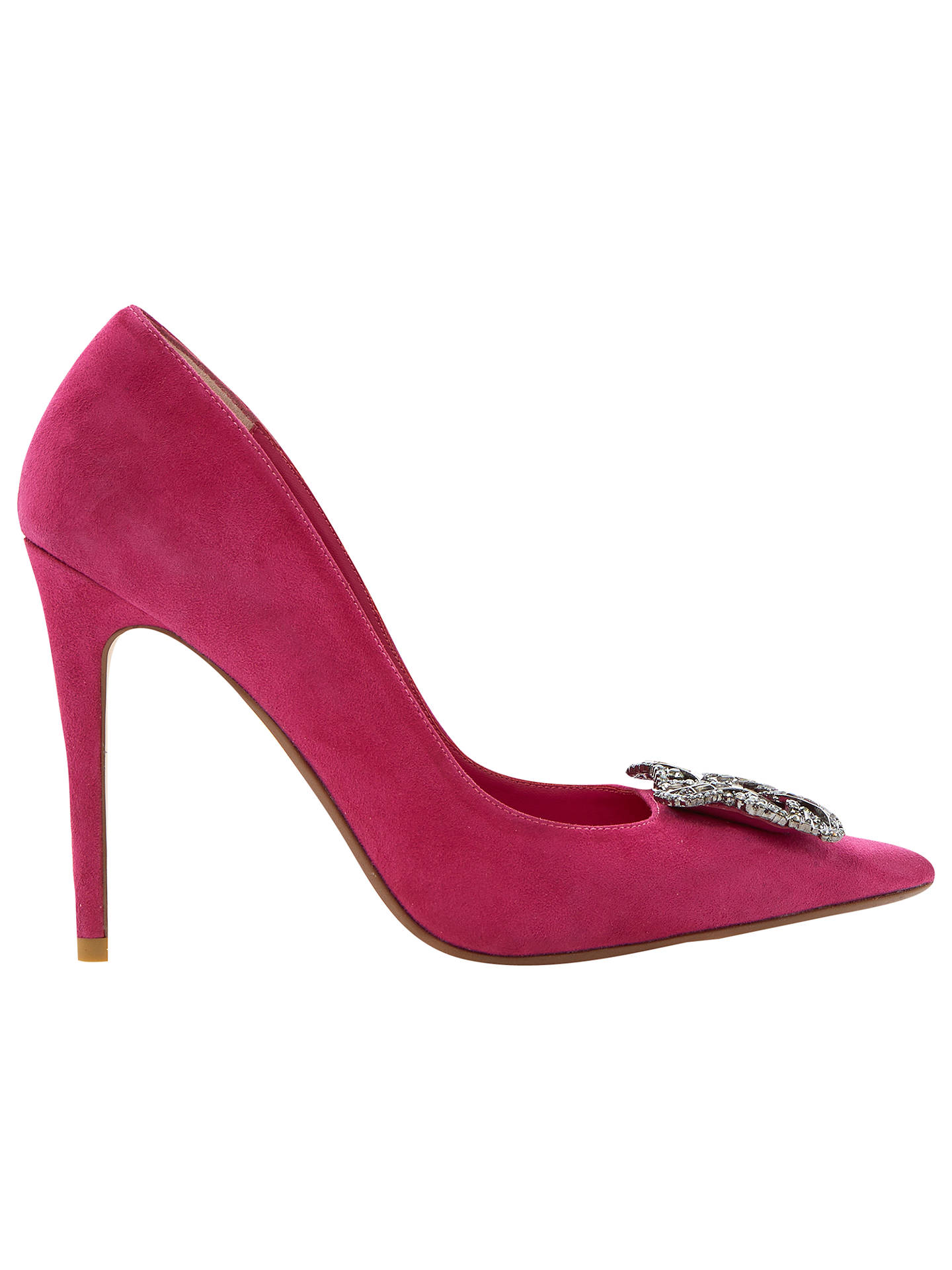 BuyDune Breanna Jewelled Brooch Court Shoes, Pink Suede, 3 Online at johnlewis.com