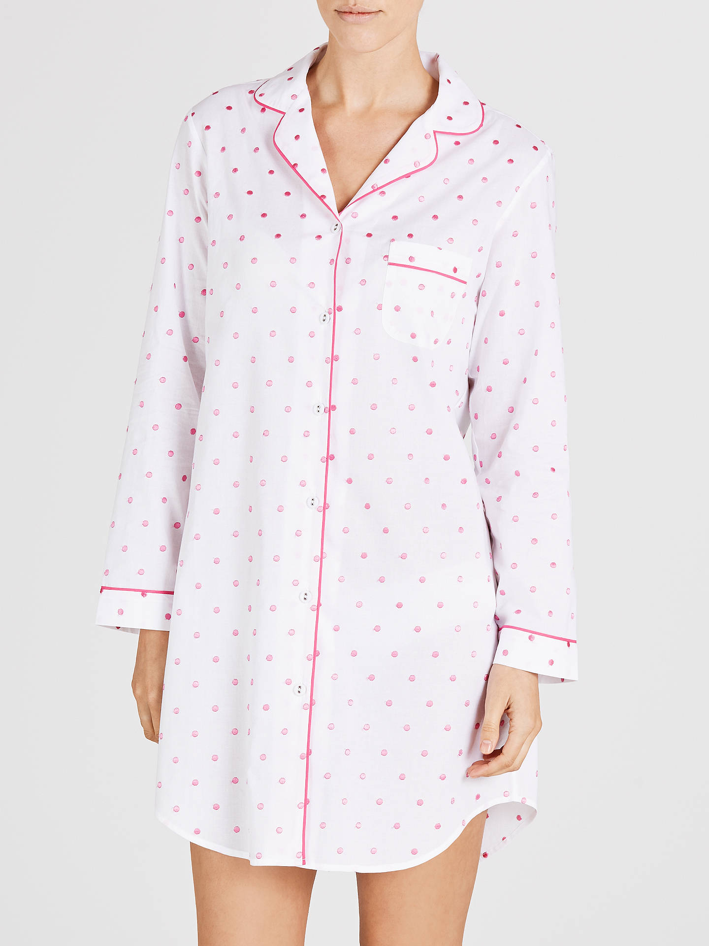 BuyJohn Lewis Spot Nightshirt, White / Pink, 8 Online at johnlewis.com