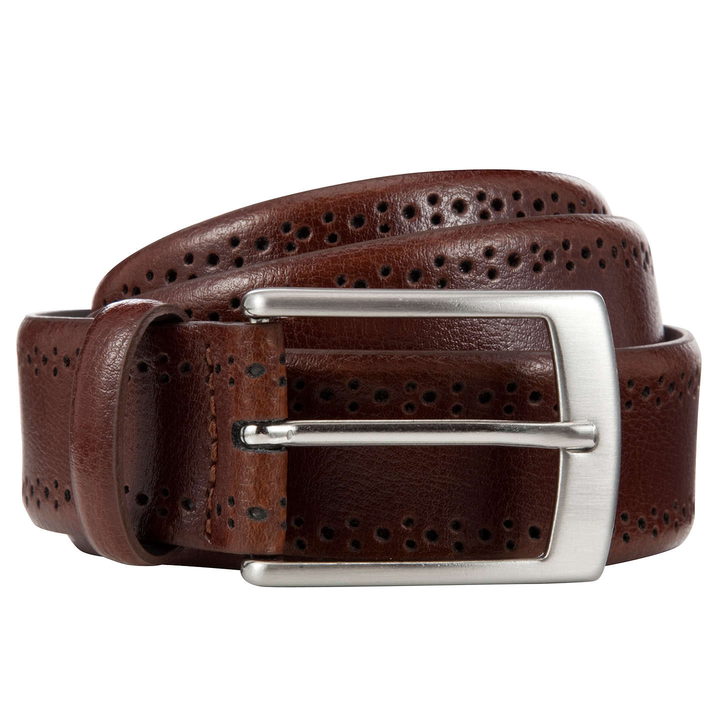 BuyJohn Lewis Made In Italy Brogue Belt, Brown, S Online at johnlewis.com