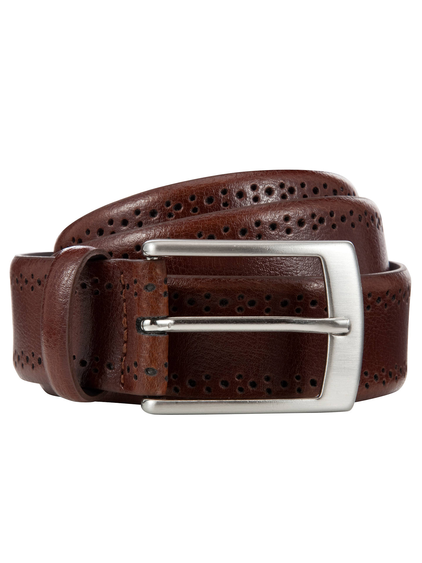 BuyJohn Lewis & Partners Made In Italy Brogue Belt, Brown, S Online at johnlewis.com