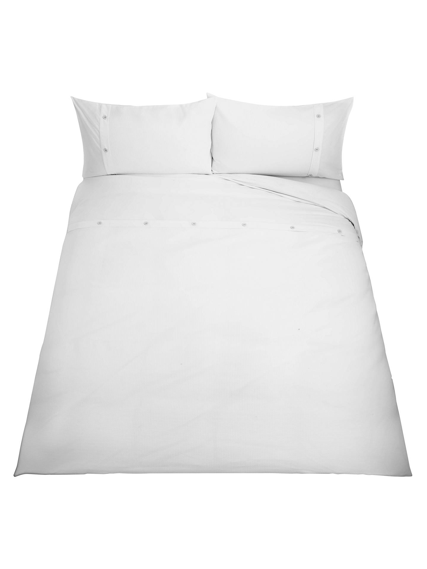 BuyJohn Lewis & Partners Easy Care Bordered Waffle Duvet Cover Set, White, Single Online at johnlewis.com