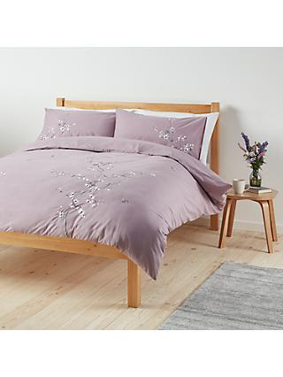 John Lewis & Partners Easy Care Chinese Blossom Duvet Cover and Pillowcase Set, Cassis