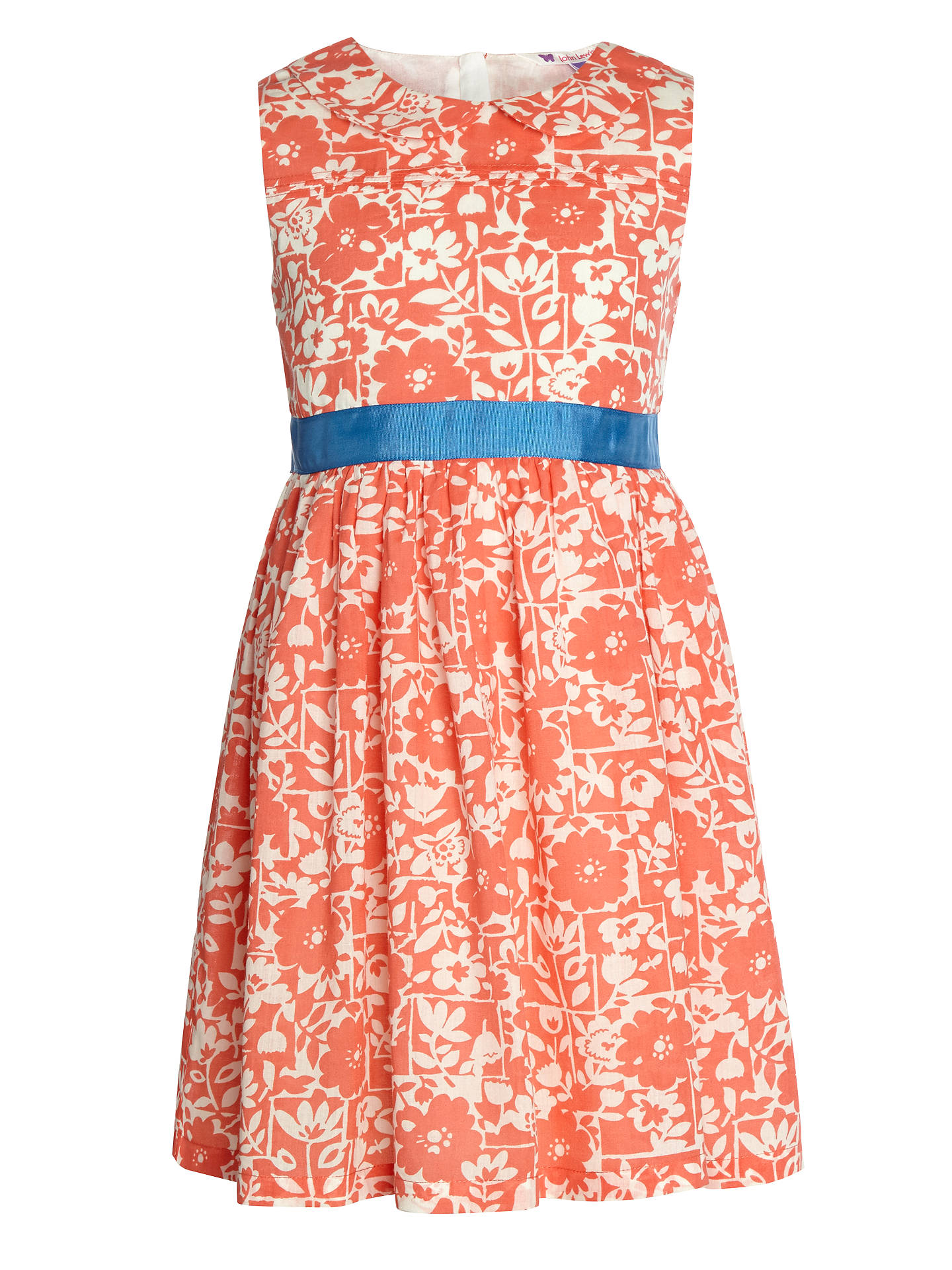 Buy John Lewis Girl Floral Sash Dress, Coral, 2 years Online at johnlewis.com
