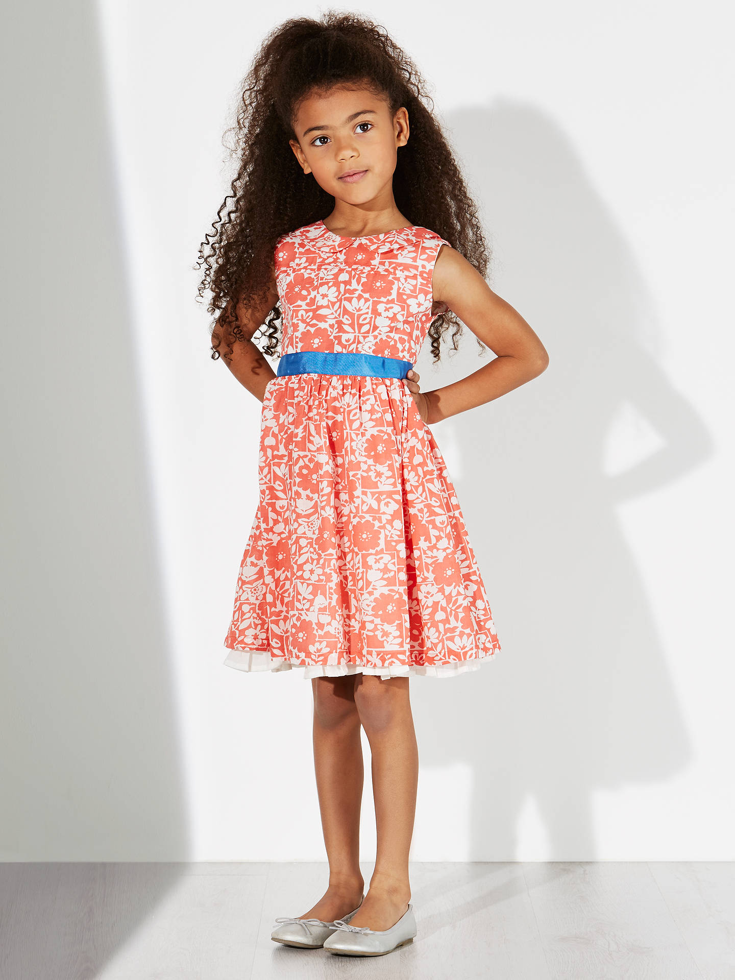 Buy John Lewis Girl Floral Sash Dress, Coral, 10 years Online at johnlewis.com