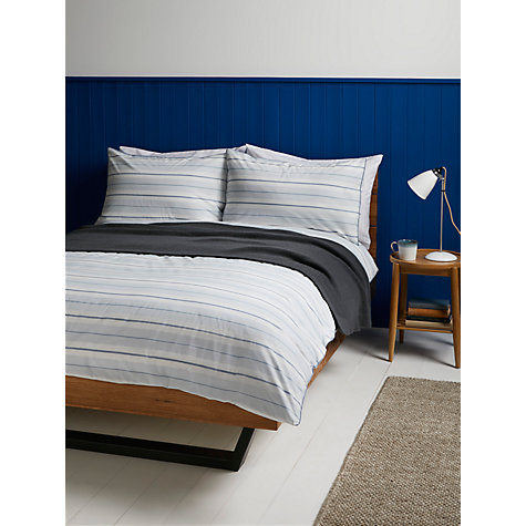 Buy John Lewis Fine Stripe Duvet Cover and Pillowcase Set, Blue Online at johnlewis.com