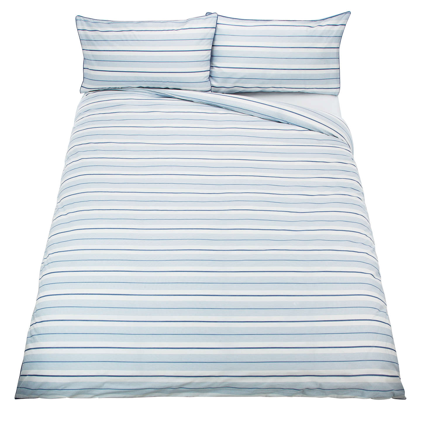 BuyJohn Lewis Fine Stripe Duvet Cover and Pillowcase Set, Blue, Single Online at johnlewis.com