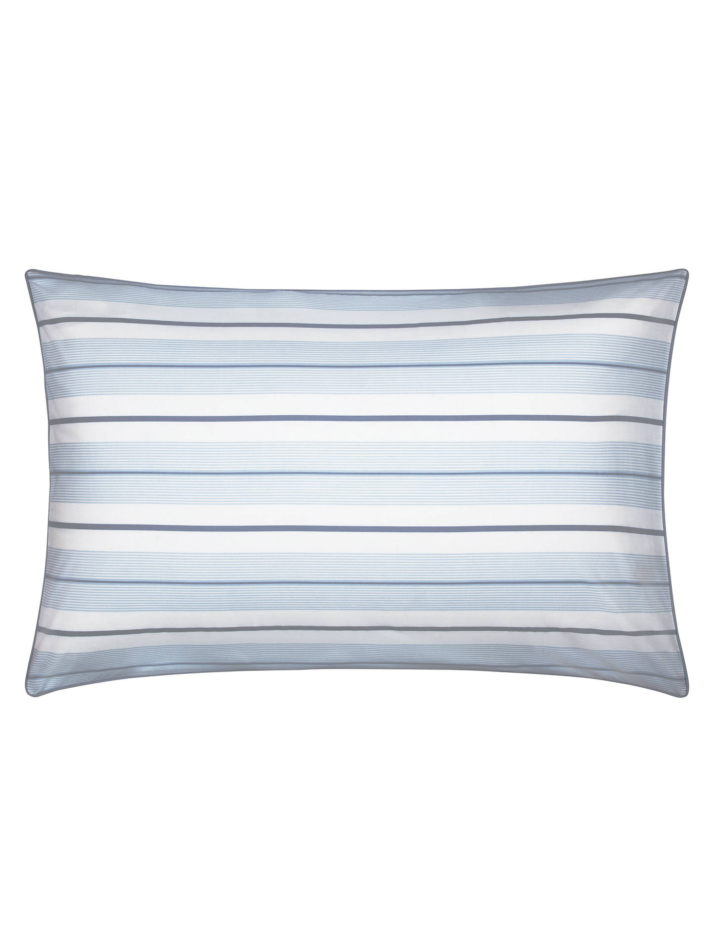 BuyJohn Lewis & Partners Easy Care Fine Stripe Duvet Cover and Pillowcase Set, Blue, Single Online at johnlewis.com