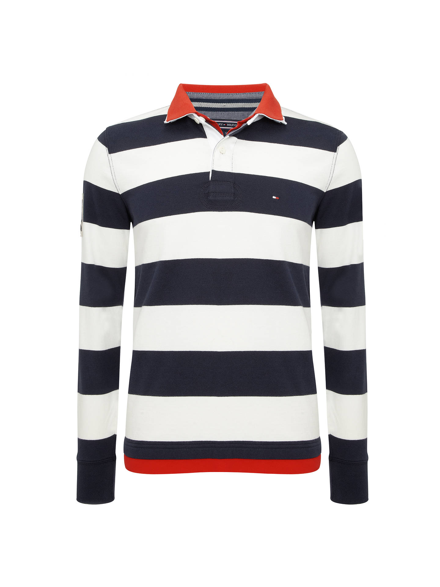 24edb2264 Buy Tommy Hilfiger Striped Long Sleeve Rugby Polo Shirt, Blue/White, M  Online ...