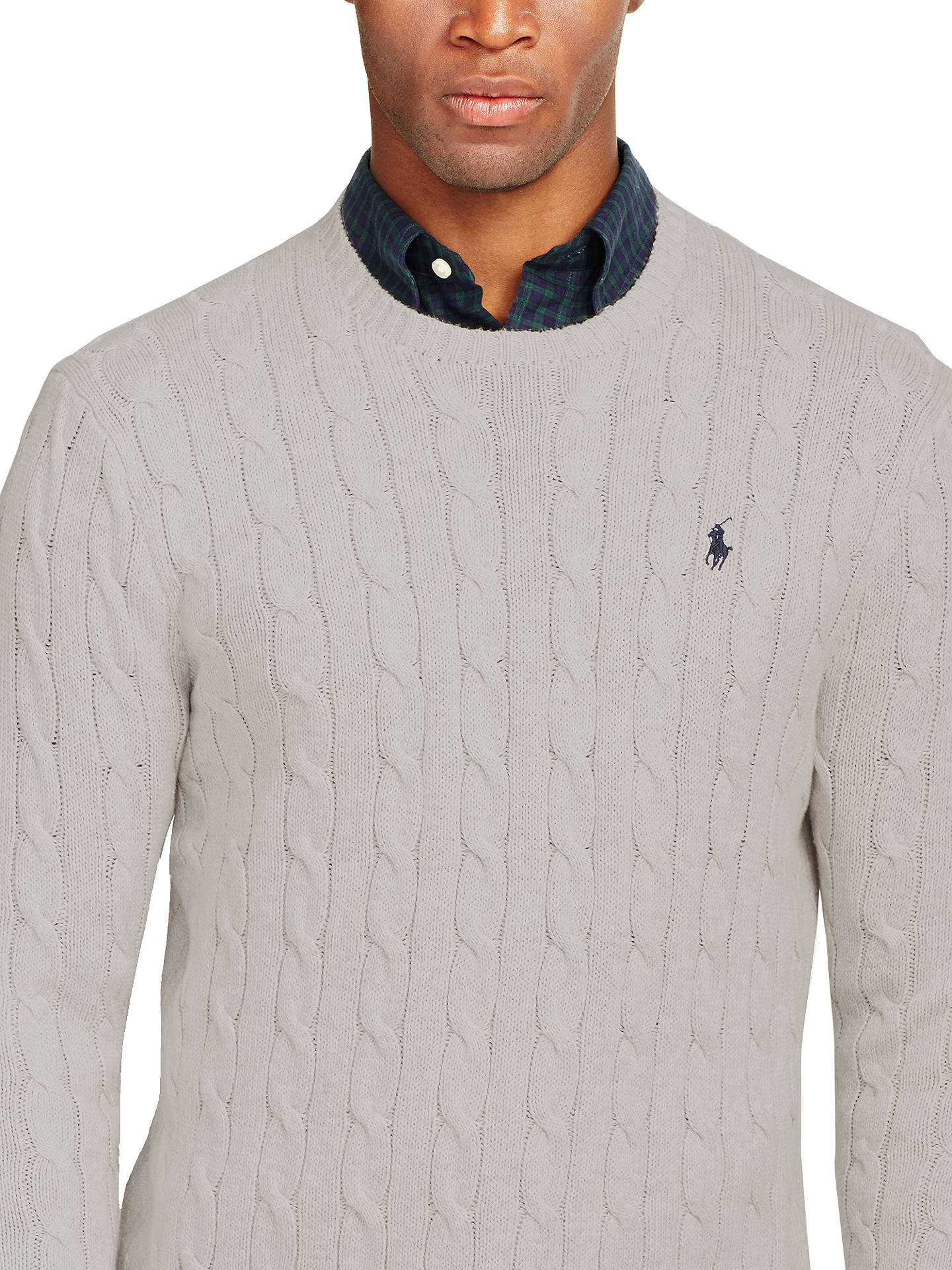 a879770efd8 Polo Ralph Lauren Cable Knit Crew Neck Jumper, Light Grey Heather at ...