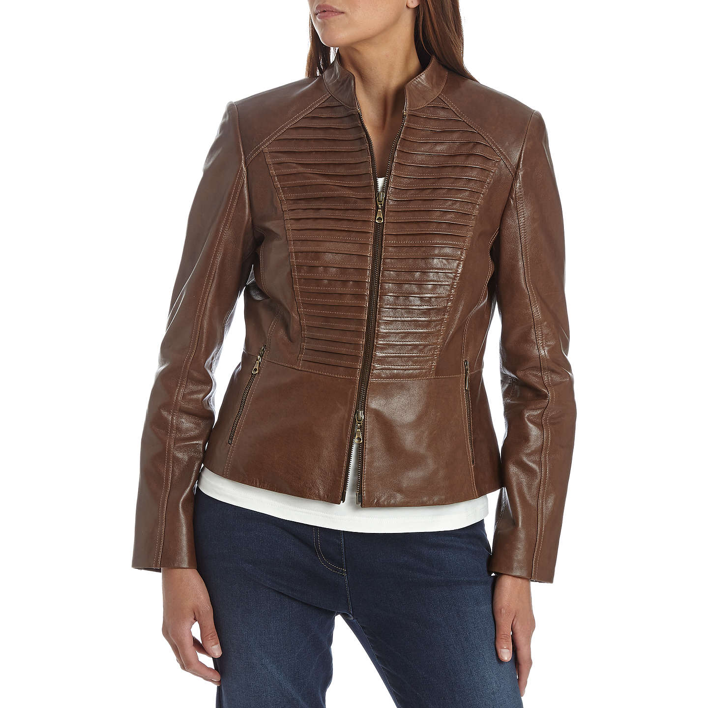 BuyBetty Barclay Leather Jacket, Tobacco Brown, 10 Online at johnlewis.com