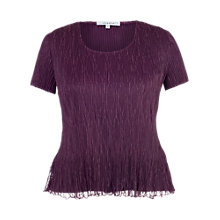 Buy Chesca Lace Pleated Top, Aubergine Online at johnlewis.com