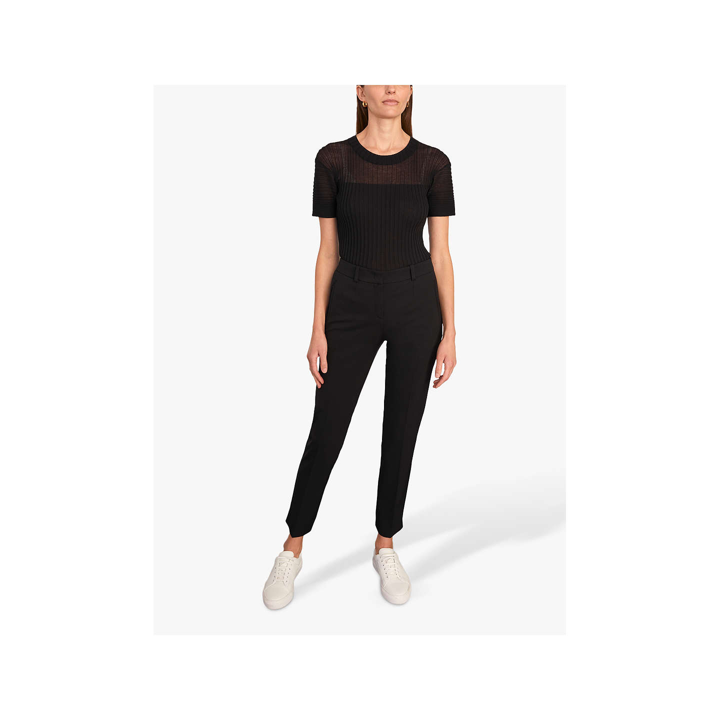 BuyJigsaw Paris Slim Tapered Trousers, Black, 8 Online at johnlewis.com