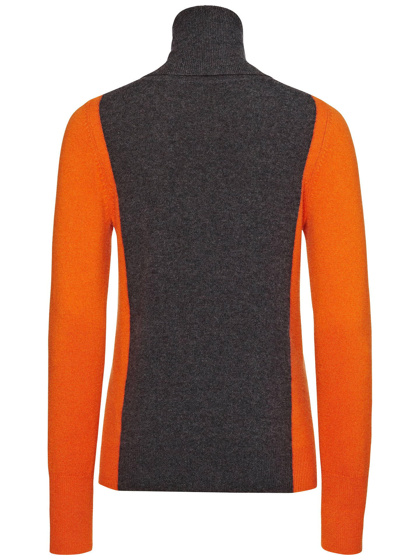 Jaeger Colour Block Cashmere Roll Neck Sweater, Charcoal