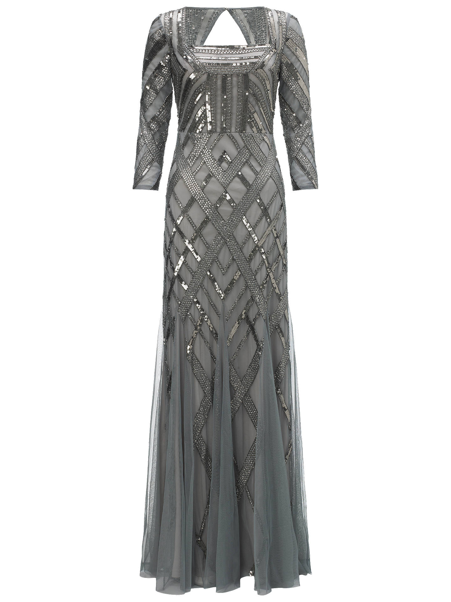b4231aafc3565 Adrianna Papell Bead Art Deco Dress, Slate at John Lewis & Partners