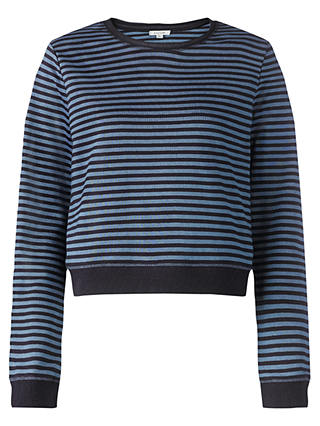 Buy Jigsaw Crop Stripe Sweatshirt, Blue, S Online at johnlewis.com