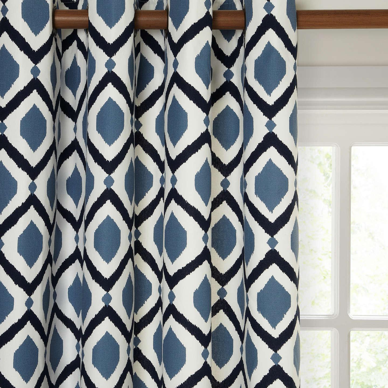 John Lewis Indah Pair Lined Eyelet Curtains, Indian Blue by John Lewis