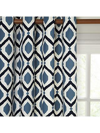 John Lewis & Partners Indah Pair Lined Eyelet Curtains, Indian Blue