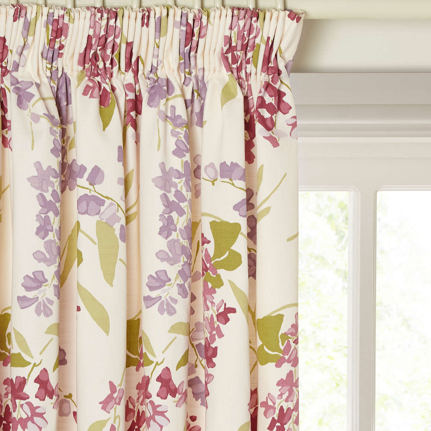 BuyJohn Lewis Wisteria Pair Lined Pencil Pleat Curtains, Pink / Purple,  W117 X Drop ...