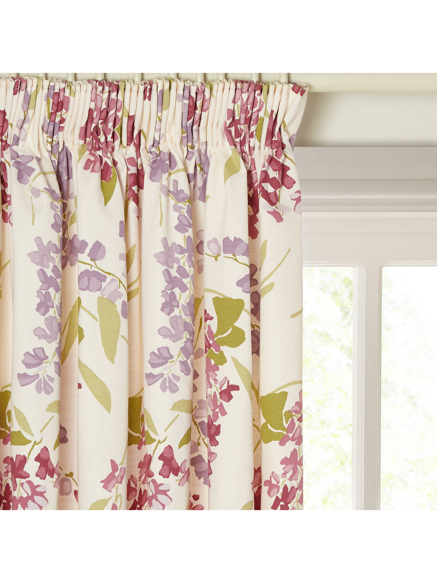 Buy John Lewis & Partners Wisteria Pair Lined Pencil Pleat Curtains, Pink / Purple, W117 x Drop 182cm Online at johnlewis.com