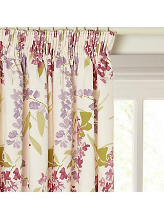 John Lewis & Partners Wisteria Pair Lined Pencil Pleat Curtains, Pink / Purple