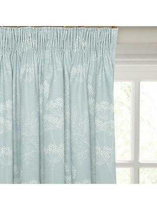 John Lewis & Partners Cowparsley Pair Blackout Lined Pencil Pleat Curtains, Duck Egg