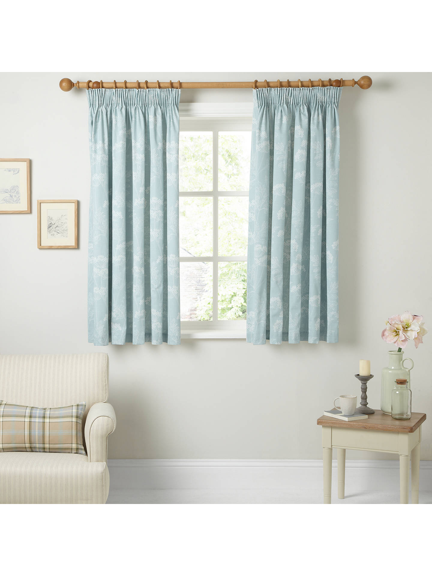 Buy John Lewis & Partners Cow Parsley Pair Lined Pencil Pleat Curtains, Duck Egg, W228 x Drop 228cm Online at johnlewis.com