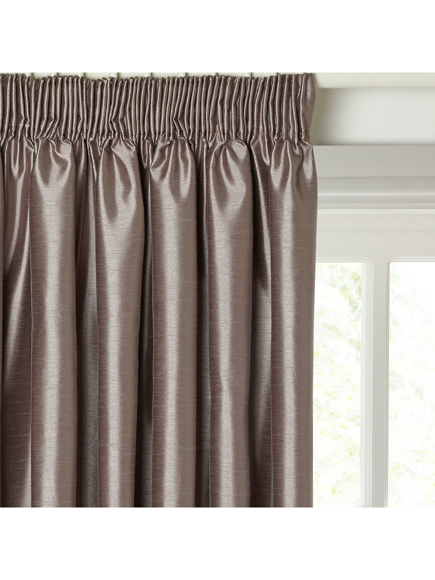 Buy John Lewis & Partners Faux Silk Pair Blackout Lined Pencil Pleat Curtains, Mocha, W167 x Drop 228cm Online at johnlewis.com