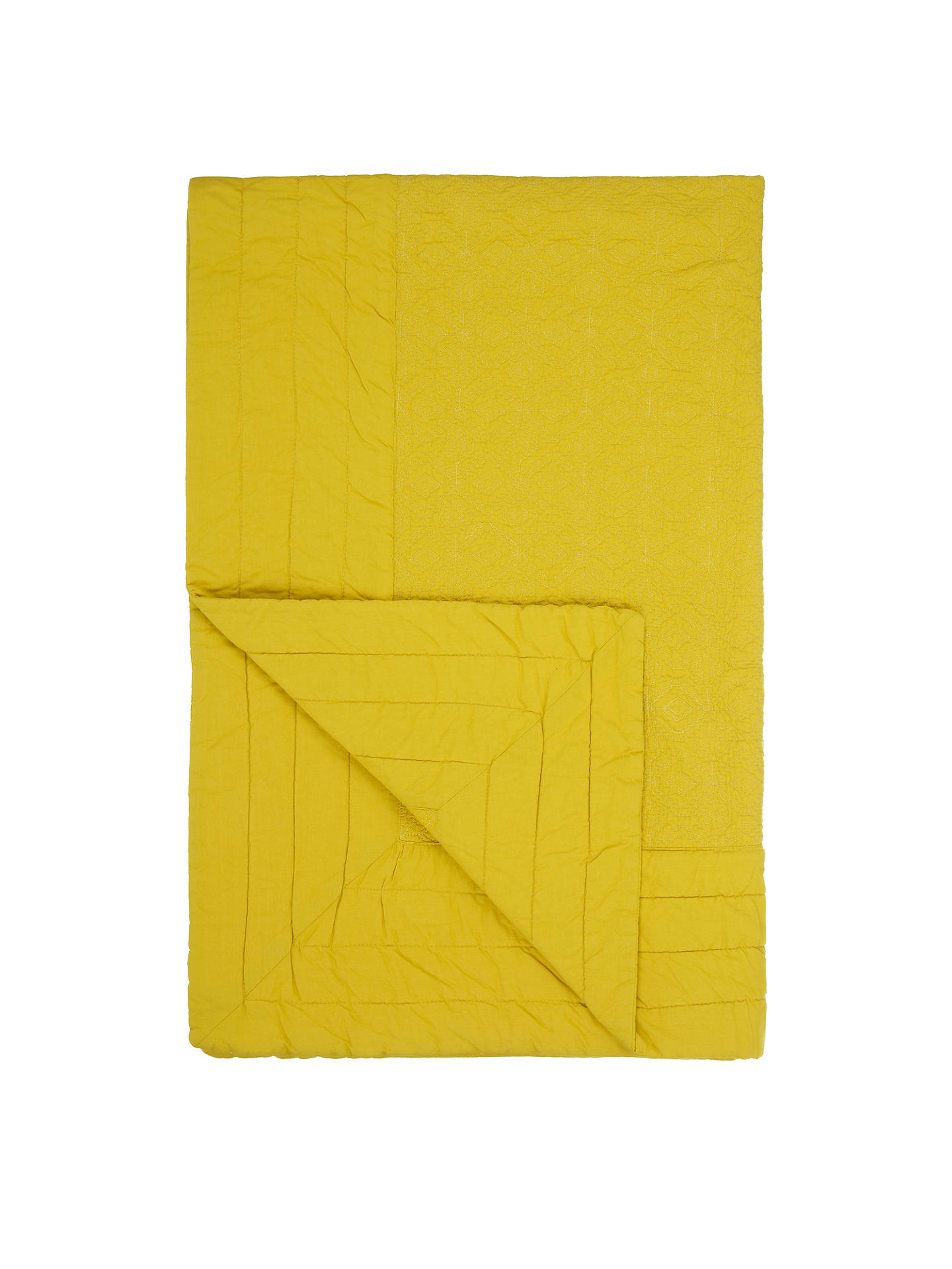 BuyJohn Lewis & Partners Isana Embroidered Bedspread, Saffron, L200 x W150cm Online at johnlewis.com