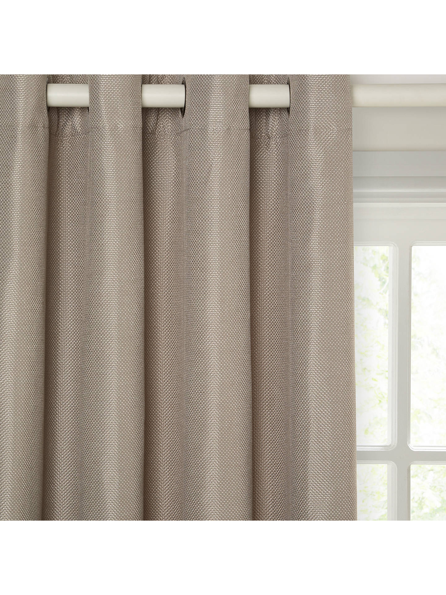 Buy John Lewis & Partners Pair Textured Weave Lined Eyelet Curtains, Mocha, W167 x Drop 182cm Online at johnlewis.com