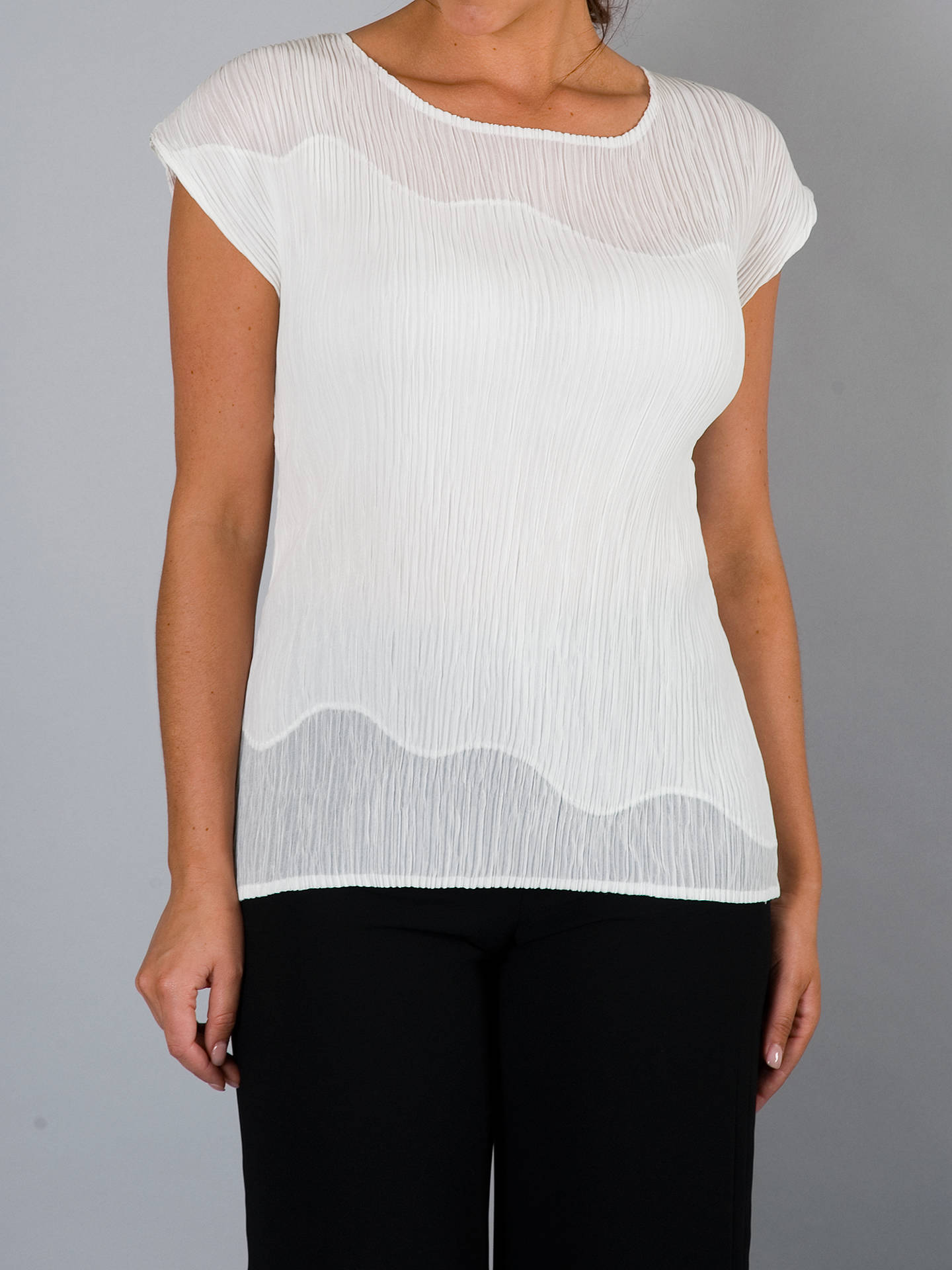 Buy Chesca Chiffon Trim Crush Pleat Top, Ivory, 12-14 Online at johnlewis.com