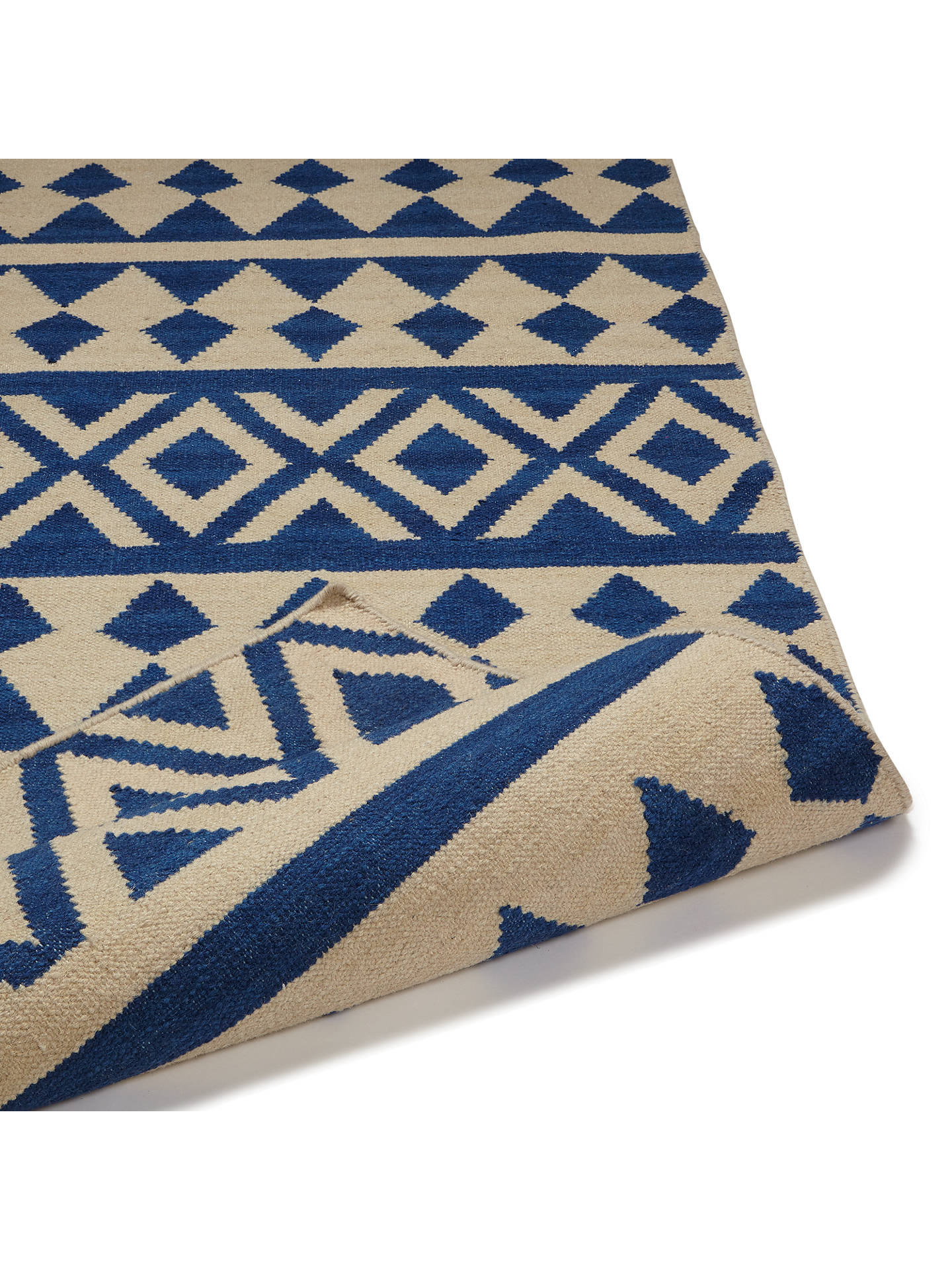 BuyJohn Lewis & Partners Modasa Runner Rug, 240 x 70cm, Blue/White Online at johnlewis.com