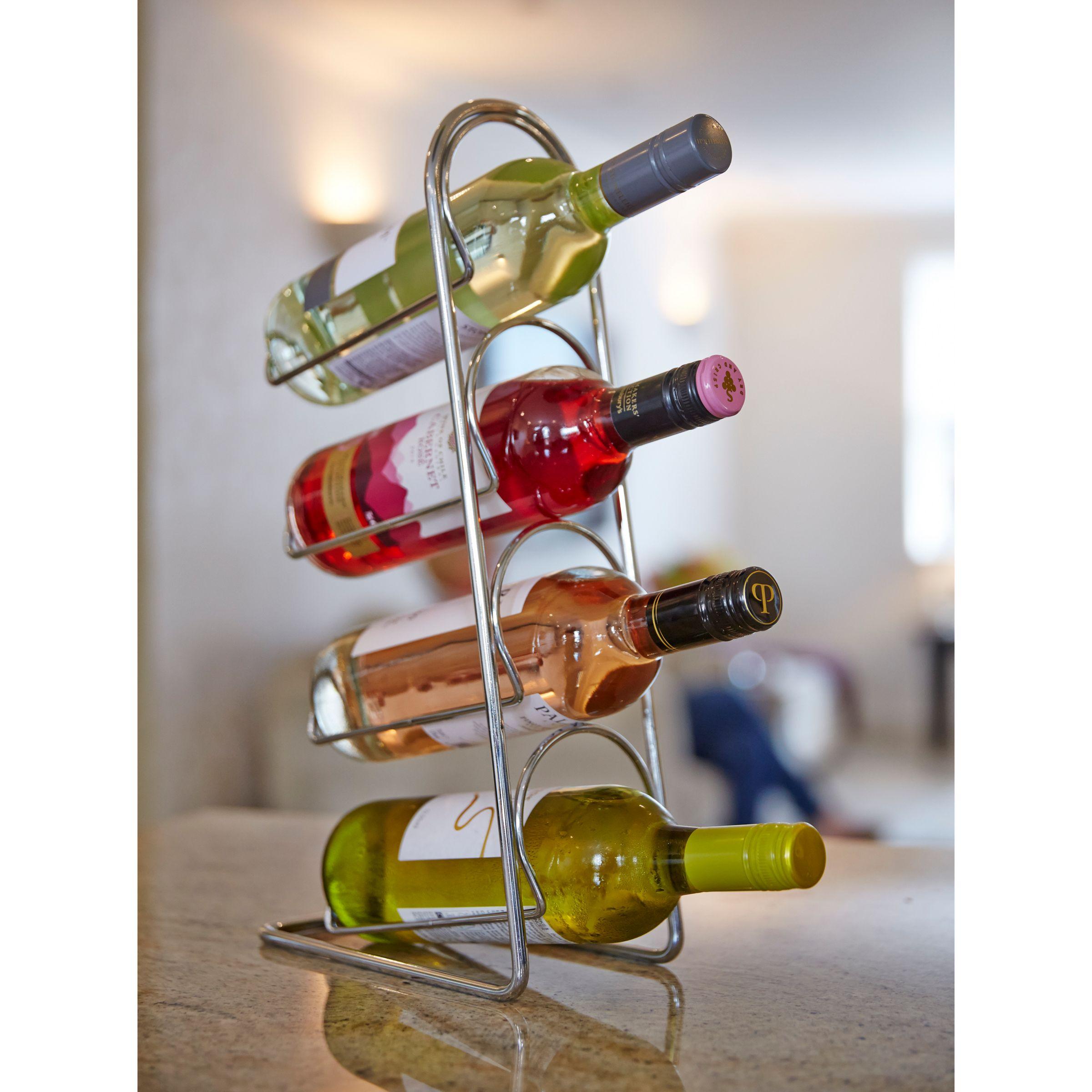 Hahn Hahn Pisa Metal Wine Rack, 4 Bottle, Chrome