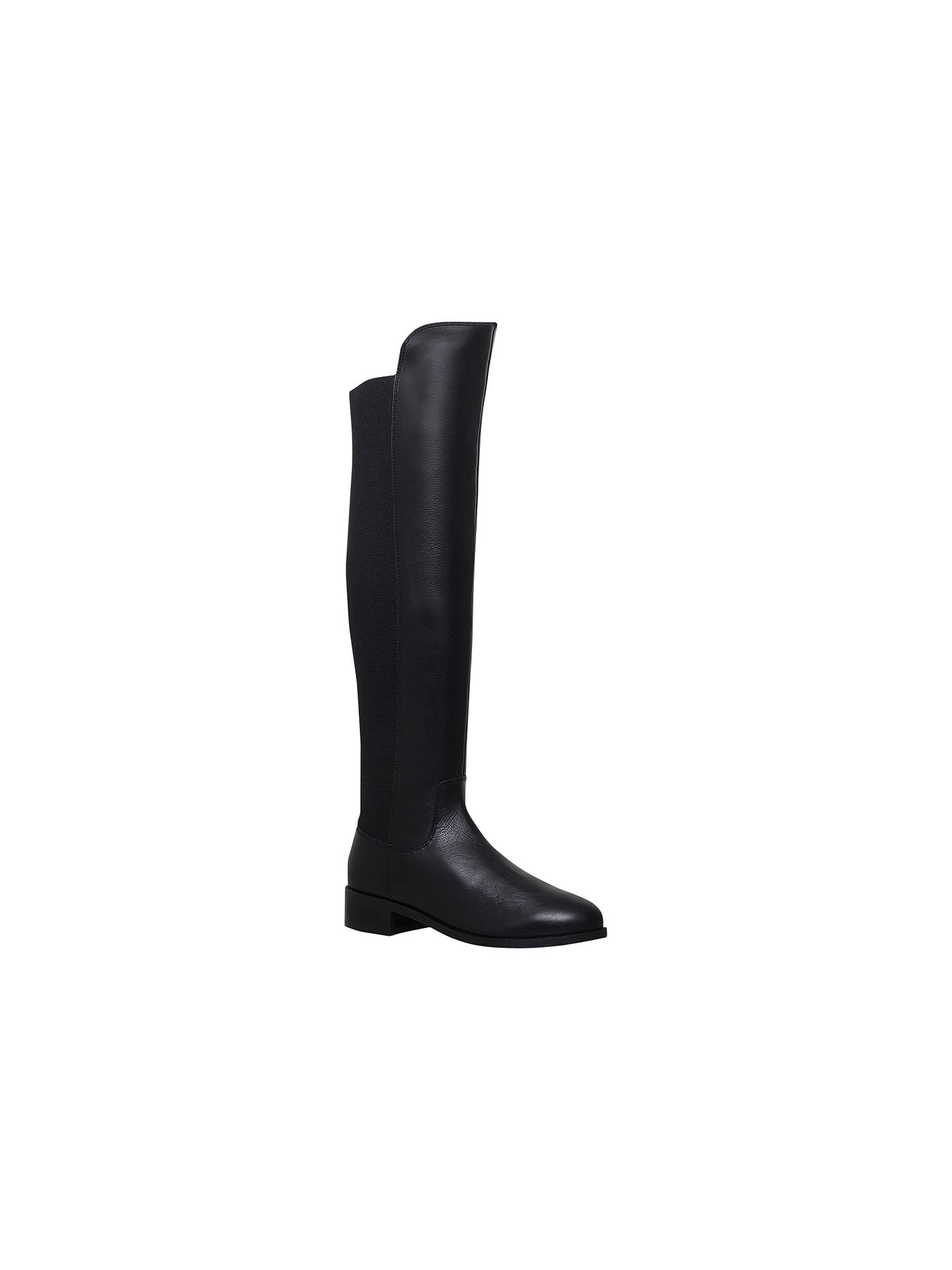 Buy Carvela Pacific Low Block Heel Over the Knee Boots, Black Leather, 3 Online at johnlewis.com