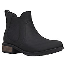 Buy UGG Bonham Leather Low Block Heel Ankle Boot, Black Online at johnlewis.com