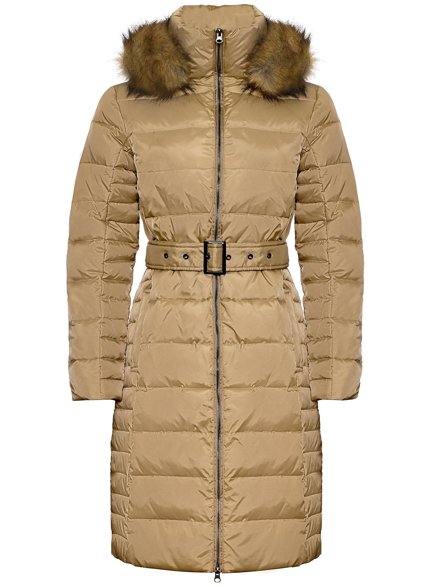 Jaeger Fur Trim Belted Puffa Coat at John Lewis & Partners