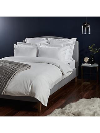John Lewis & Partners Soft and Silky Treviso Cotton Duvet Covers and Pillowcases, White/Grey