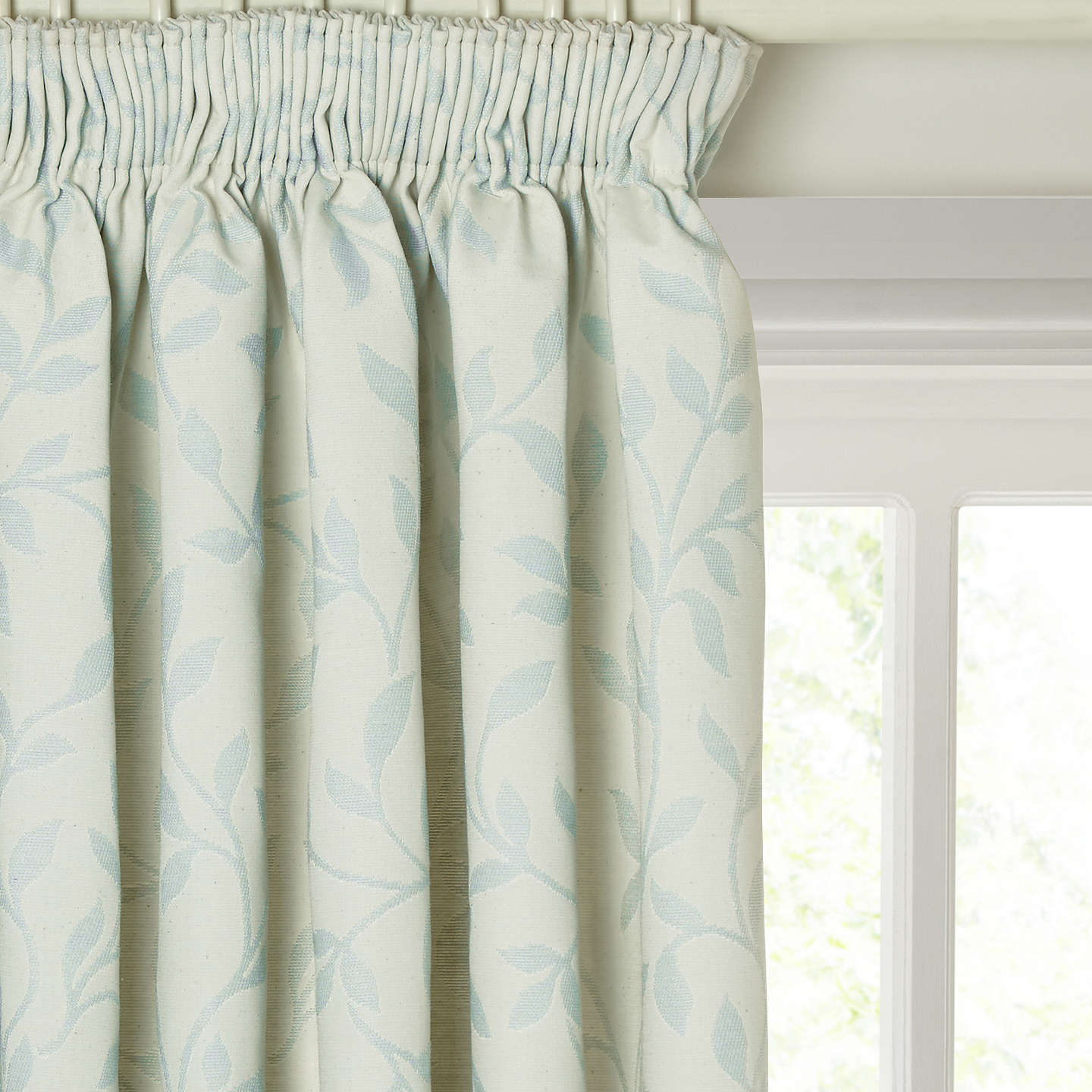 BuyJohn Lewis Cotton Linen Leaf Trail Pair Lined Pencil Pleat Curtains Duck Egg W260