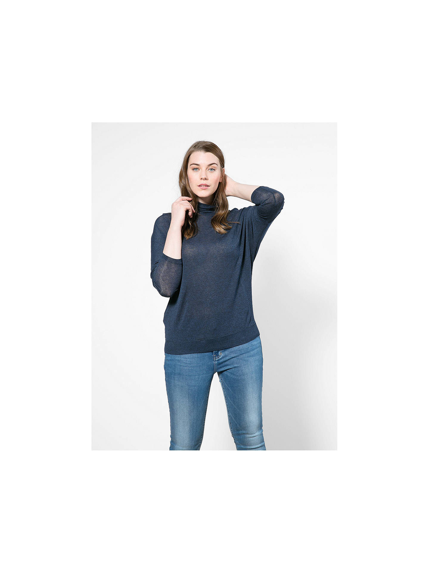 BuyVioleta by Mango Long Dolman Sleeve Fine Jumper, Navy, S Online at johnlewis.com